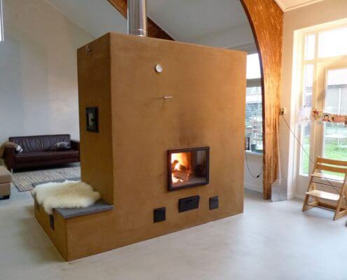 stoken met hout verwarmde bank finoven